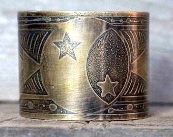 Moon and Stars Jewelry Celestial Cuff Bracelet Brass Cuff Bracelet Etched Cuff Galaxy Jewelry Moon Bracelet Geometric Jewelry Moon Jewelry
