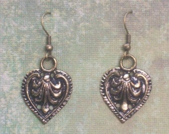 Golden Leaf  Earrings - Upcycled Re-purposed Jewelry - Vintage Sewing Notions