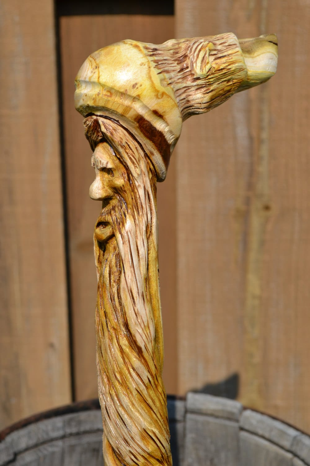 Double carved bear and wood spirit with spiral beard sumac