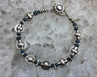 Silver Bracelet, Tribal Bracelet, Silver Tribal Bracelet, Apatite Bracelet