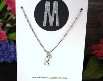 All About You - Custom Made Initial Necklace With Swarovski Birthstone - Shown Here With March - Aquamarine - Letter M