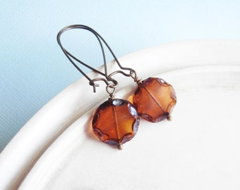 Beaded Glass and Copper Earrings - Toffee Drops