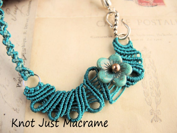 Teal Doodle Freeform Macrame Necklace Free Form Micro Macrame