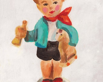 Toy Boy -  folk art Painting - original acrylic painting on wood panel- small boy illustration - toy -play -vintage painting-wall decoration
