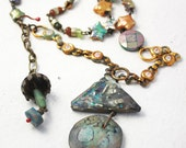 Let Heaven Exist. Cosmic rustic assemblage art necklace.