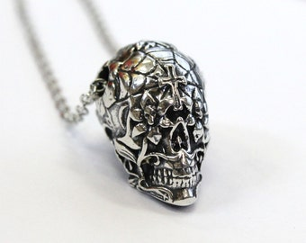Sugar Skull Necklace Solid Sterling Silver Sugar Skull Pendant Necklace Sugar Skull Jewelry Calavera 153