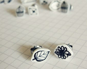 Flower & leaf earrings, black and white studs