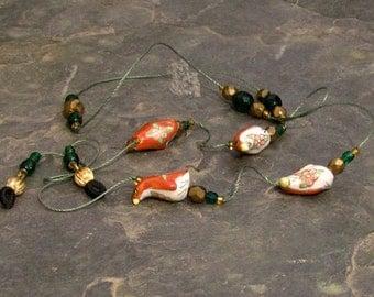 "Penguin Eyeglass Chain Lanyard, Glasses Leash, Emerald and Bronze Czech Crystal 32"" - G08"