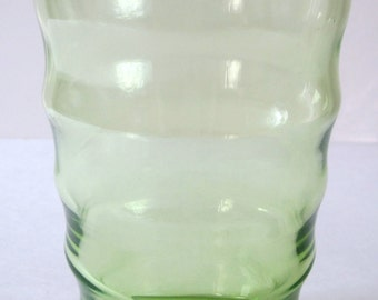 Vintage Federal Lime Green Coronet Ripple Juice Glass Tumbler Swig Water Tea