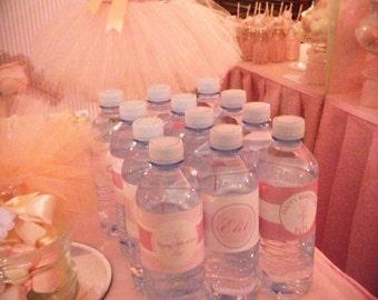 PINK DAMASK BALLERINA Printable Drink Wraps