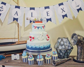 NAUTICAL BIRTHDAY Party Printable Party Banner - Aqua and Navy
