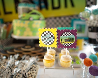 CAR LICENSE Plate Printable Cupcake Toppers