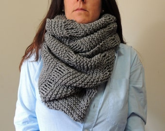 Oversized Cowl Infinity Scarf Knitting Pattern - Digital PDF Knitting Pattern -