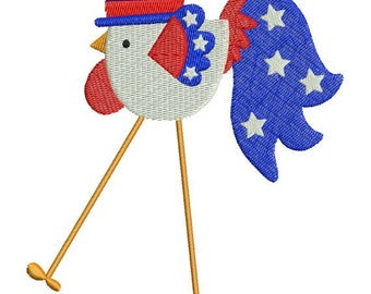 Patriotic Rooster July 4 th Machine Embroidery Designs 4x4 & 5x7 Instant Download Sale