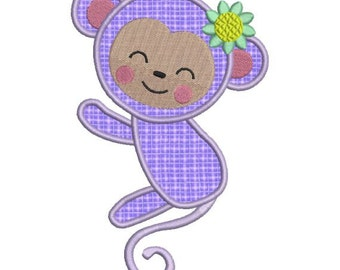 Applique Monkey Girl Zoo Jungle Machine Embroidery Designs 4x4 & 5x7 Instant Download Sale
