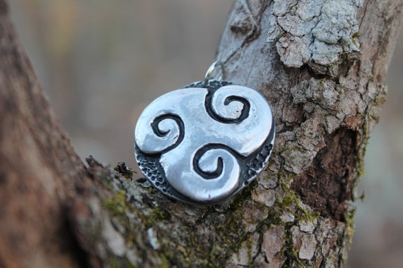 Large Pewter Triskele Pendant  (celtic, triple spiral, Brigid, druid)