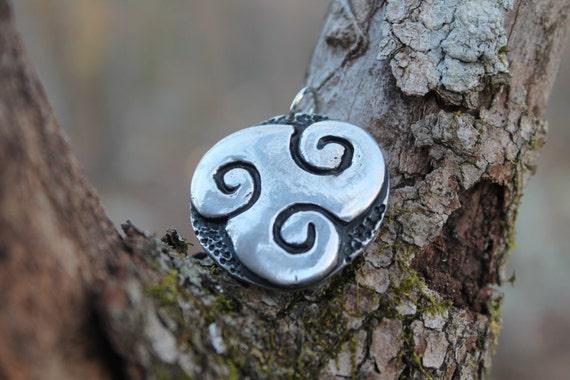 Large Pewter Triskele Pendant  (celtic, triple spiral, Brigid, druid)