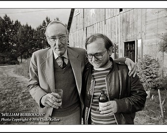 WILLIAM BURROUGHS, Ken Kesey, Clyde Keller Photo, featured on the Huff Post, large 16x20 inch Fine Art Print, Black and White, 1976 image