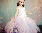 Pastel Couture - Flower Girl Tulle Tutu Skirt in Pink, Copenhagen Blue, and Lavender - choose your size and length - Sewn - Weddings, photos