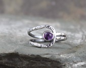 Amethyst Ring - Sterling Silver Ring - February Birthstone - Purple Gemstone Ring - Statement Ring - Rustic Unique Engagement Ring