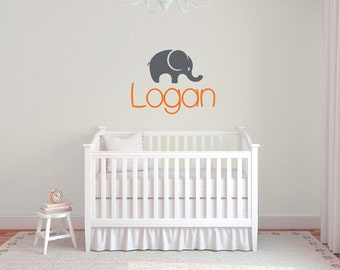 Elephant decal, boys name wall decal  DB303