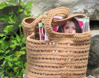 At the Beach Bag - crochet tote bag pattern in 3 sizes with 2 handle lengths - easy fun design
