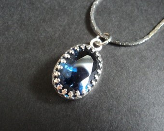 Marina - Sapphire Blue Crystal and Sterling Silver necklace