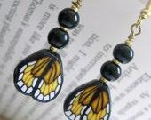Butterfly Maiden - Earrings in Orange and Black