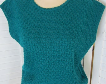 Shell or Vest, Knit, Teal Green with Cap Sleeve - Size M