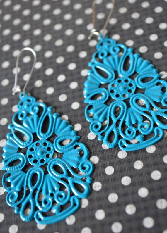 Turquoise Filigree Drop Earrings, Boho Filigree Earrings, Statement Earrings, Fall Earrings, Bohemian Hippie Chic Earrings