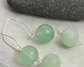Green Tara Amazonite & Aventurine Earrings - Silver Ear Wires - Handmade OOAK - Free US Shipping