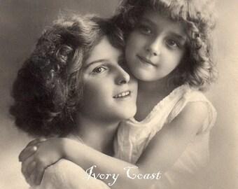Mother and Daughter Hug Vintage Postcard Photo Ephemera.  Digital Download.