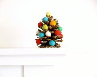 Christmas Tree Rustic Festive Felted Holiday Decorating, Colorful Needle Felted Wool Decor, Pine Cone Sugarplum Tree