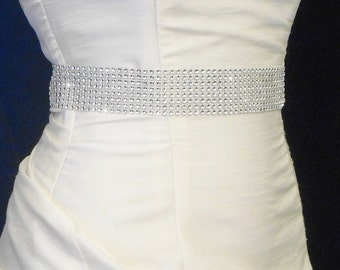 Rhinestone Wedding Sash Ribbon, 1 1/2 Inch Wide Rhinestone Wedding Belt