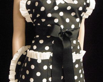 Black W/ Large White Polka Dot, Pin Up  Apron, Any Color Trim, Scotch Guarded