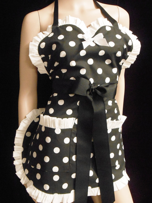 black w large white polka dot pin up apron any color trim scotch