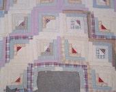 """CUTTER QUILT - Antique Log Cabin Quilt - Vintage Quilt - Pastel Colors Quilt - already cut into - 74"""" x 29"""""""