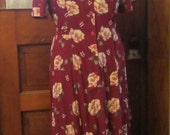 Alfred Dunner 30's style Long Summer Dress Vintage 80's