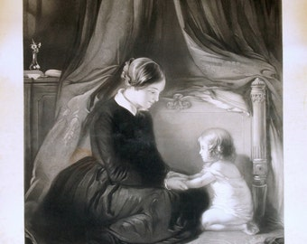 1856 Rare Poster-sized Victorian Engraving. Pray God Bless Papa and Mama