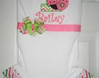 Baby Girl Lady birthday bodysuit, pink and green ladybug, monogrammed