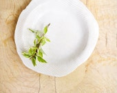 "ceramic plate minimalist white serving tray organic textured handmade platter 10 "" D"