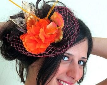 Orange fascinator  veil fascinator hat  brown flower fascinator  with feathers STAVVY SMALL ORANGE