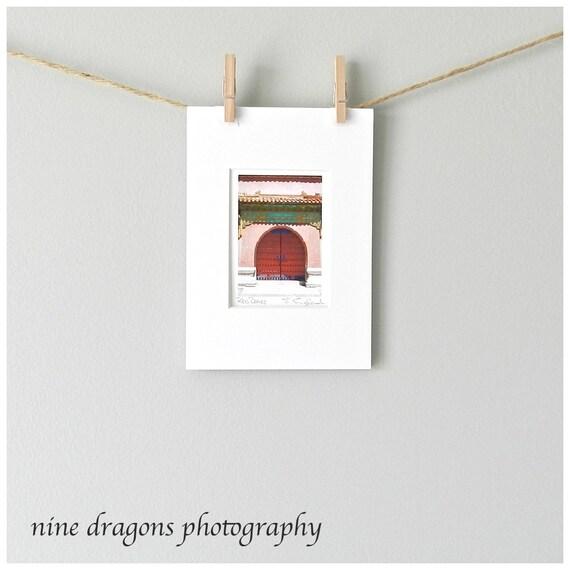 Miniature Art Door Photography, Red Doors Asian Art Photo, Chinese Fine Art Print, China Travel Photography, 5x7 Matted Asian Decor