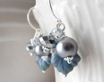 Slate Blue Earrings Bead Cluster Dangles Maple Leaf Jewelry Pearl and Crystal Earrings Blue and Silver Beaded Jewelry Handmade Gifts for Her