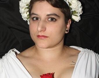 SALE - White Rosebud Flower Crown - Handmade Floral Accessory