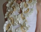 Crochet openwork lace scarf scarflette neckpiece neckwear feminine romantic bridal bridesmaid ivory beige - White Orchid - Gift under 50