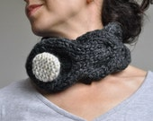 Hand knit braided cable neckwarmer knitted collar designer chunky neck cuff buttoned scarf Classic Elegance in charcoal or CHOOSE YOUR COLOR