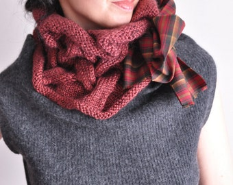 Handknit luxury cowl wavy texture neckwarmer elegance chunky braid plaited plaid snood Breaking The Waves tomato red or CHOOSE YOUR COLOR