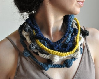 Wearable Fiber Art Fiber Jewelry Freeform Crochet Necklace Neckwear Neckpiece multistrand in navy denim charcoal citron - We Can Get Wild