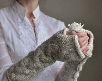 Cable chunky hand knit extra long fingerless gloves armwarmers wristwarmers - Freezebaby Mittens in cream or CHOOSE YOUR COLOR Gift under 50